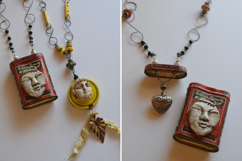 About Face mixed media jewelry by Jen Cushman