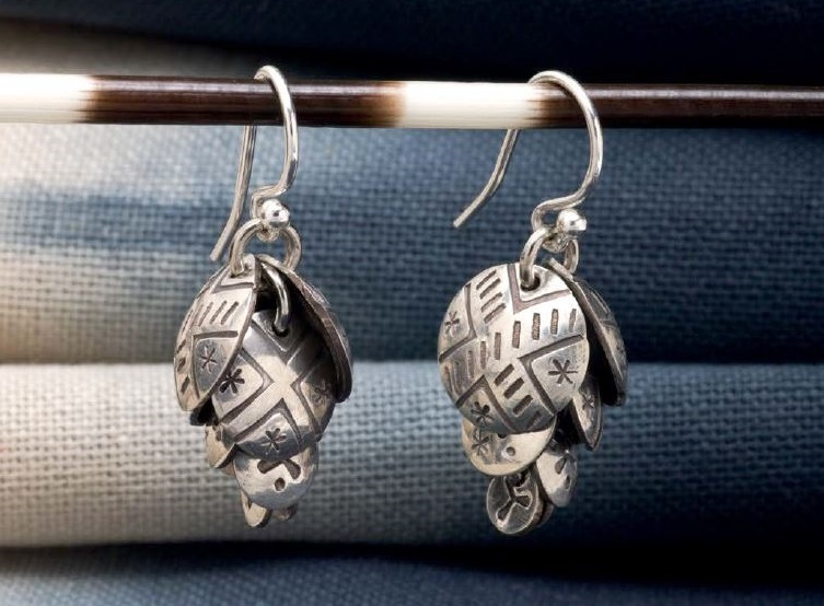 learn metal punching and how to make Aisha Formanski's Cascade Cluster Earrings