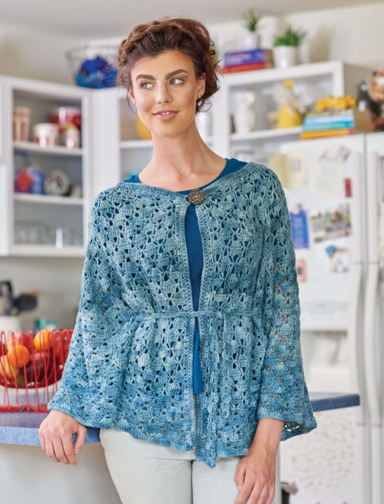 Alfresco by the Lake Belted Crochet Cape, Continuous Crochet by Kristin Omdhal