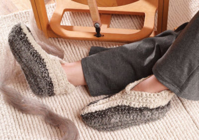 The American Jacob Crocheted Slippers is a crochet slippers pattern found in our free Guide to Spinning Wool eBook.