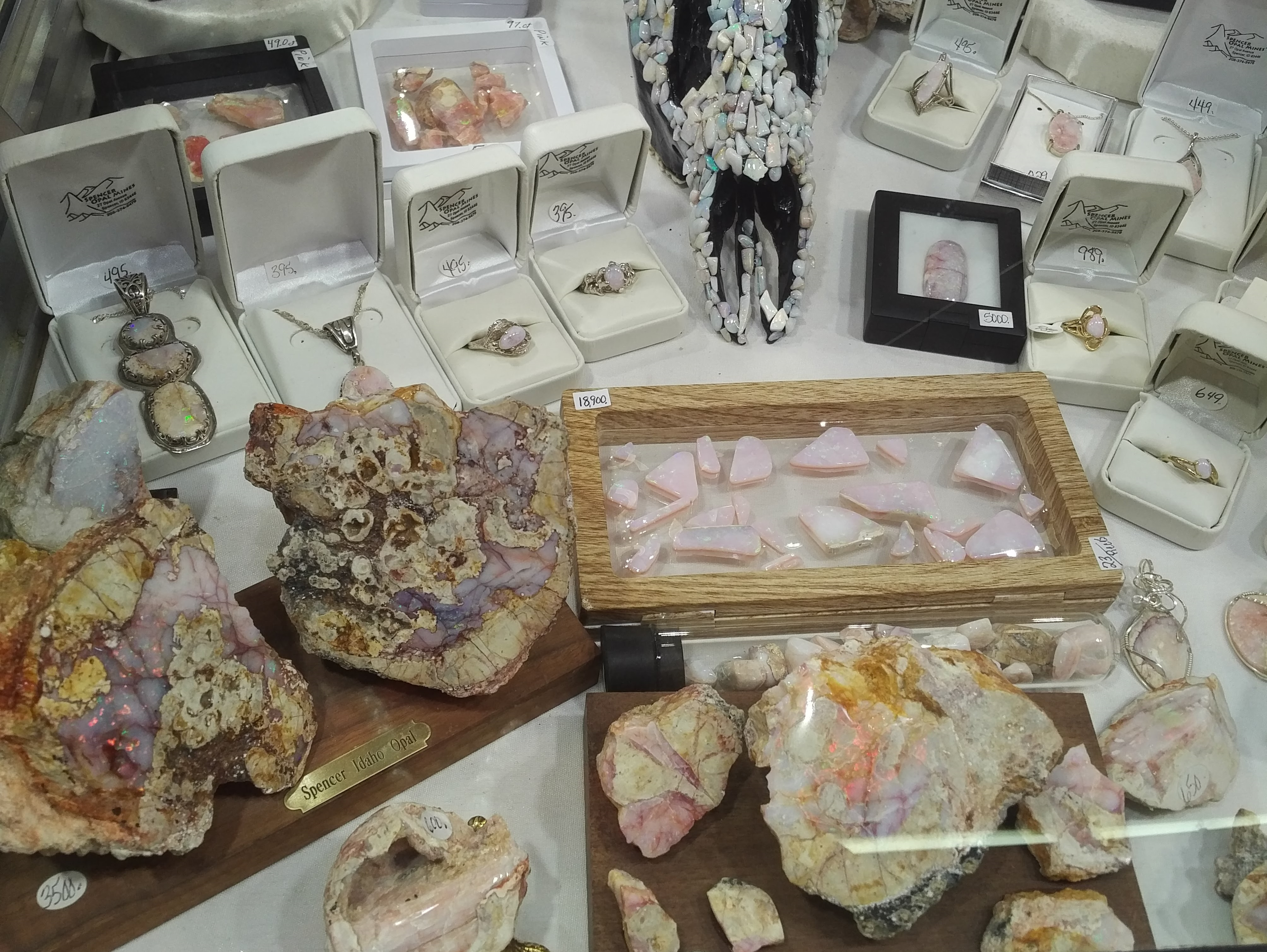 American pink opals from Spencer Opal Mines. JOGS show, Tucson shows