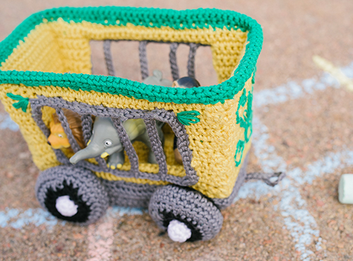 Side of Animal Train Car Crochet Amigurumi