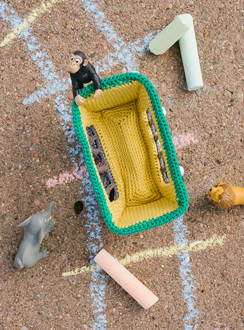 Top View of Animal Train Car Crochet Amigurumi