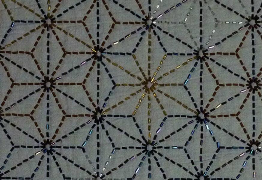 beaded embroidery: Sashiko stitch spacing sample