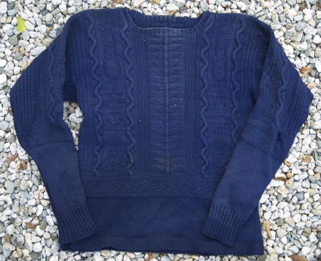 """Sarah's first gansey, the """"At Sea Gansey"""" from the book Knitting in America. Photo by Sarah Lake Upton"""
