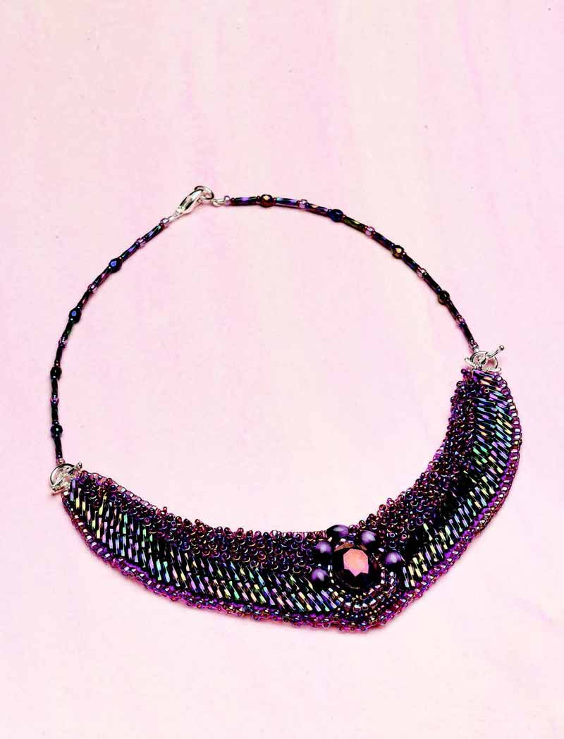 Jewelry Trends Report and Free Beaded Choker Necklace Projects. The Aurora Borealis Collar mixes iridescent seed beads, bugle beads, fire-polished rounds, and a crystal focal for an awe-inspiring effect.