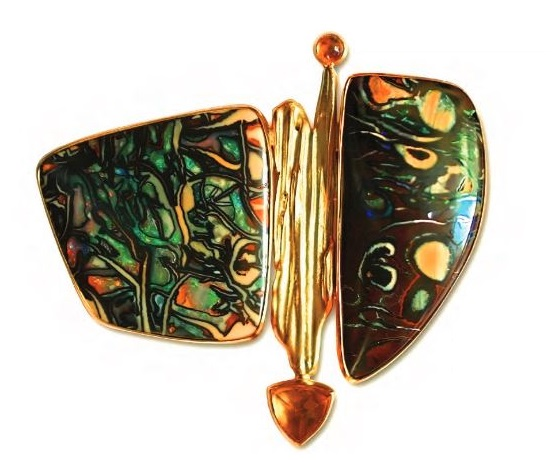 Autumn Brooch by Beth Rosengard. Koroit opal and citrine.