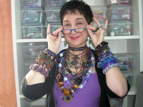 Leslie and her beads