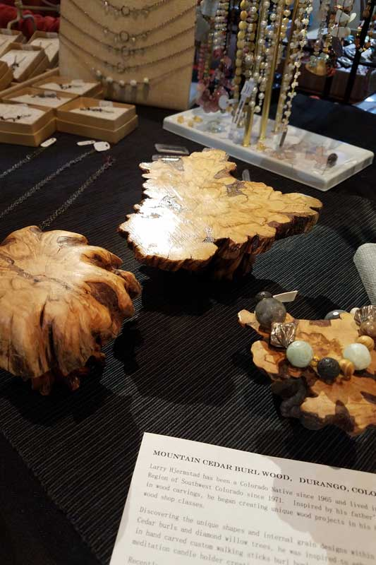 Miniature Burl Wood Tables by Larry Hjermstad as seen during Bead Fest Santa Fe 2017
