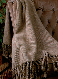 Shadow-weave blanket by Sharon Alderman