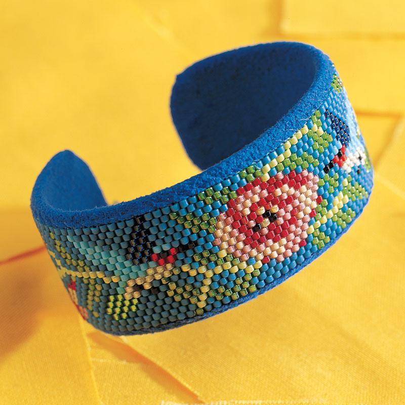 Hummingbirds and Trumpet Vine Cuff Bracelet by Mary J. Tafoya