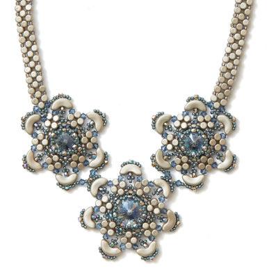 Winter Flower Necklace by Laura Graham: Alternate Colorway: Biege
