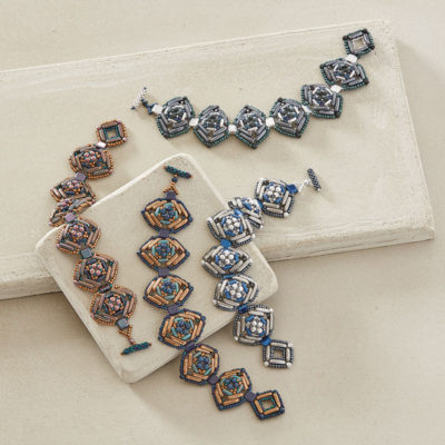 Deco Diamond Bracelet by Penny Dixon, Beadwork magazine December 2017/January 2018