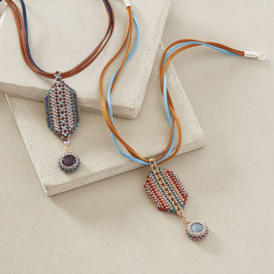 Striped Mosaic Pendant by Cindy Kinerson, Beadwork magazine December 2017/January 2018