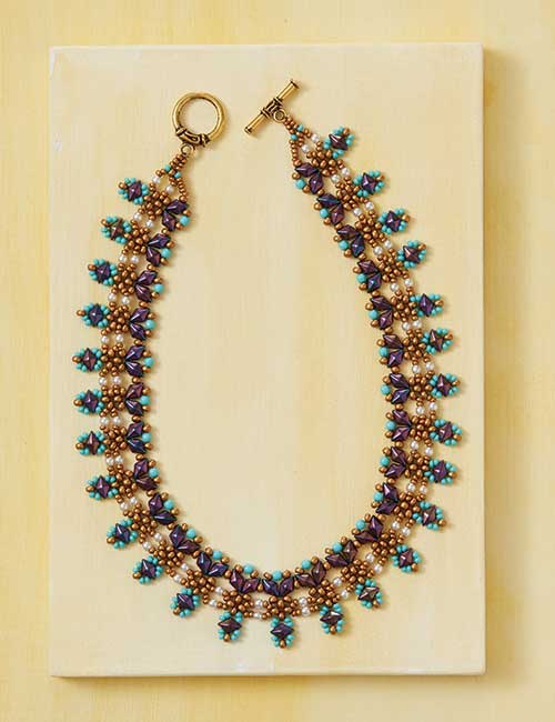Beadwork Feb/Mar 2017 issue filled with on-trend and fabulous beadweaving designs. Diamond Delight Necklace by Eve Leder