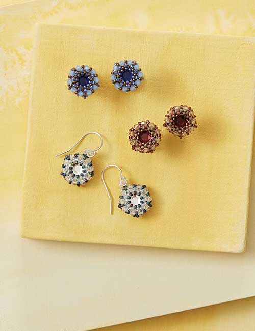 Beadwork Feb/Mar 2017 issue filled with on-trend and fabulous beadweaving designs. Sweet Sangria Earrings by Christa O'Brien