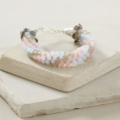 Sweet as Sugar Bracelet by Linda Anderson This sweet and sparkly pastel bracelet is a piece of cake to braid, using basic kumihimo and simple wireworking.