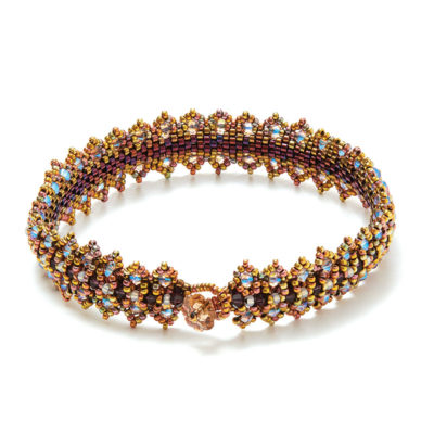 Royal Countess Cuff by Regina Payne Form the base structure of this enchanting bracelet using a variation of peyote stitch and then embellish the beadwork with crystals and seed beads.