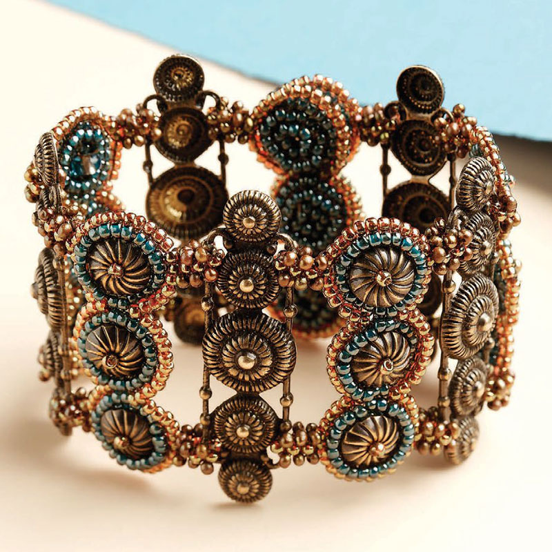 8 Beading Projects to Love -- Without Shaped Beads! The Antique Connections Cuff by Melinda Barta