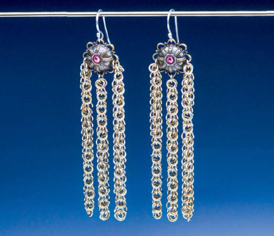Basket Shields chain maille earrings by Lauren Andersen