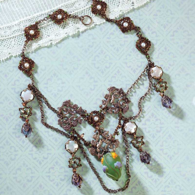 Bead Romantique by Lisa Kan - a book filled with romantic beaded jewelry designs. Quatrefoil Nouveau Festoon Necklace