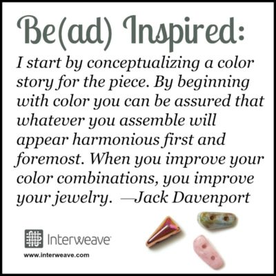 I start by conceptualizing a color story for the piece. By beginning with color you can be assured that whatever you assemble will appear harmonious first and foremost. When you improve your color combinations, you improve your jewelry