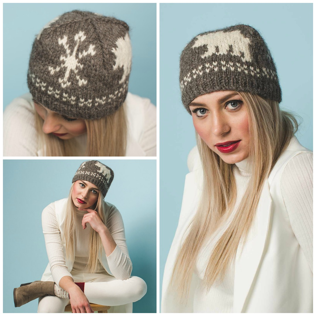 The Bearly There Cap is a close-fitting knitted hat with stranded colorwork bears and snowflakes.