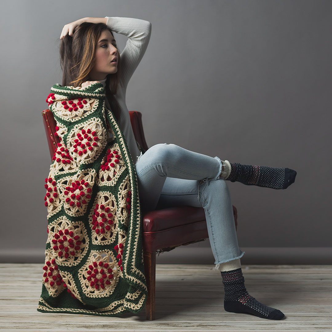Berry and Pine Afghan from Interweave Crochet Winter 2019 CREDIT: Harper Point Photography