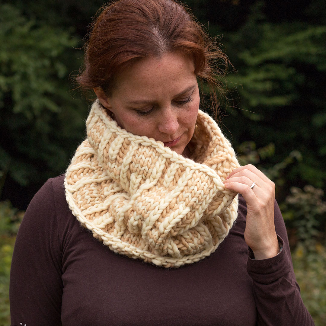 Some of her patterns are quick knits like Billow, a brioche and stripe basket weave cowl worked on US #15 (10mm) needles, creating a wonderfully squishy fabric perfect for staving off winter's chill.