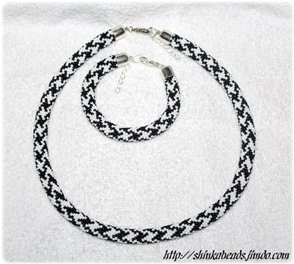 Houndstooth Bead Crocheted Jewellery Set Black And White Necklace