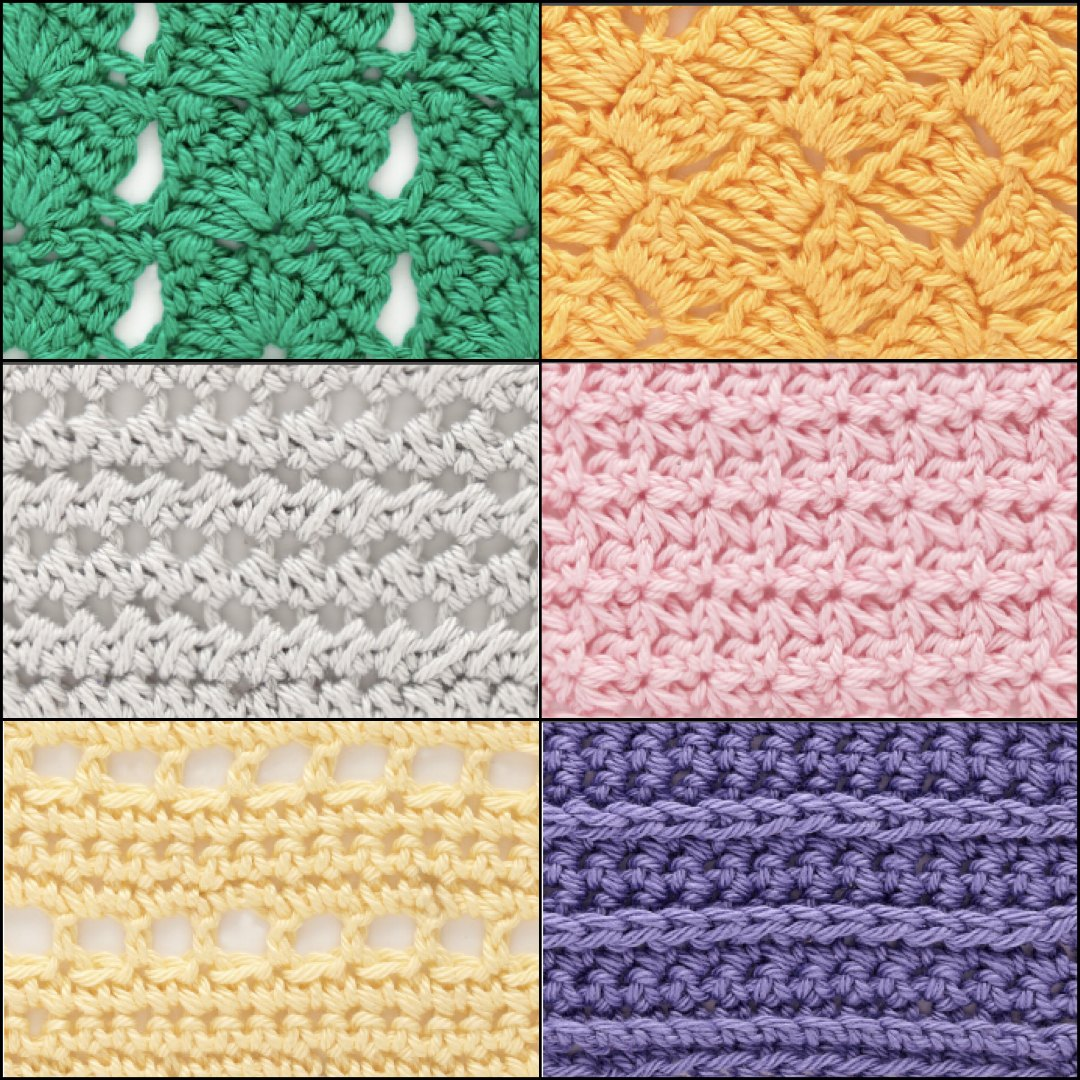 From top-right corner moving clockwise, the Cross Hatch Shells, Rocking Stitch, Pin Tuck Ridges, Alternating Eyelets, Crossed Half Double Crochet, and Openwork Cluster crochet stitches found in The Step-By-Step Guide to 200 Crochet Stitches are great for blanket making! ©Quarto Publishing plc, by Phil Wilkins
