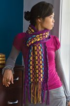 The Blooming Cotton Scarf is a colorful cotton scarf pattern found in our free Knitting Scarves for all Seasons eBook.