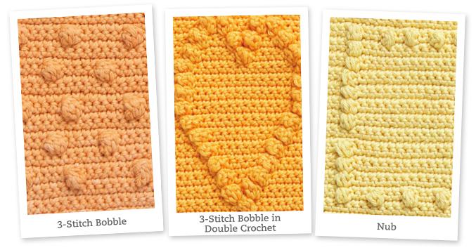 Crochet Nub Stitch : Left to right: 3-Stitch Bobble, 3-Stitch Bobble in Double Crochet, Nub