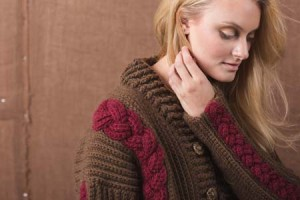 Boston Ivy Crochet Sweater with Cables