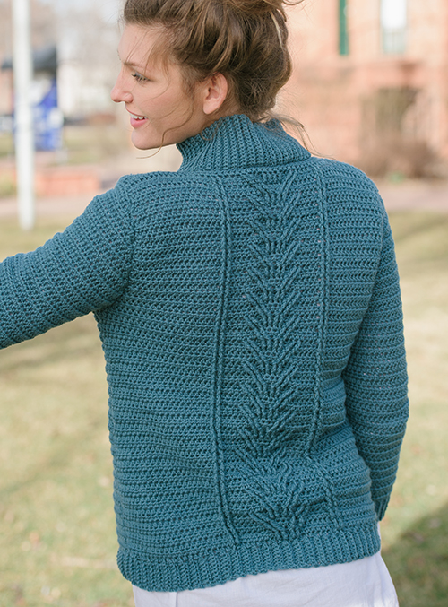 Back of Botany Pullover with crochet cables