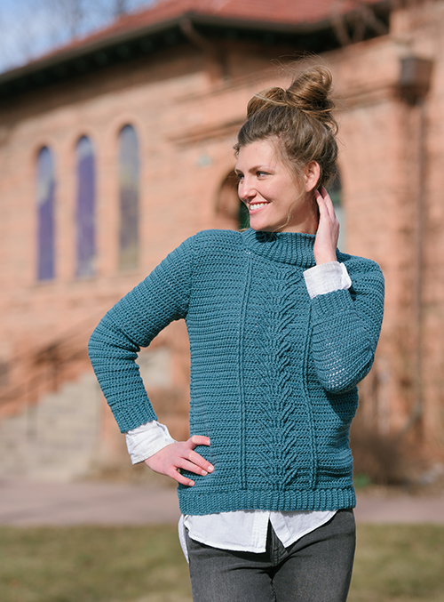 Botany Pullover crochet sweater with cables