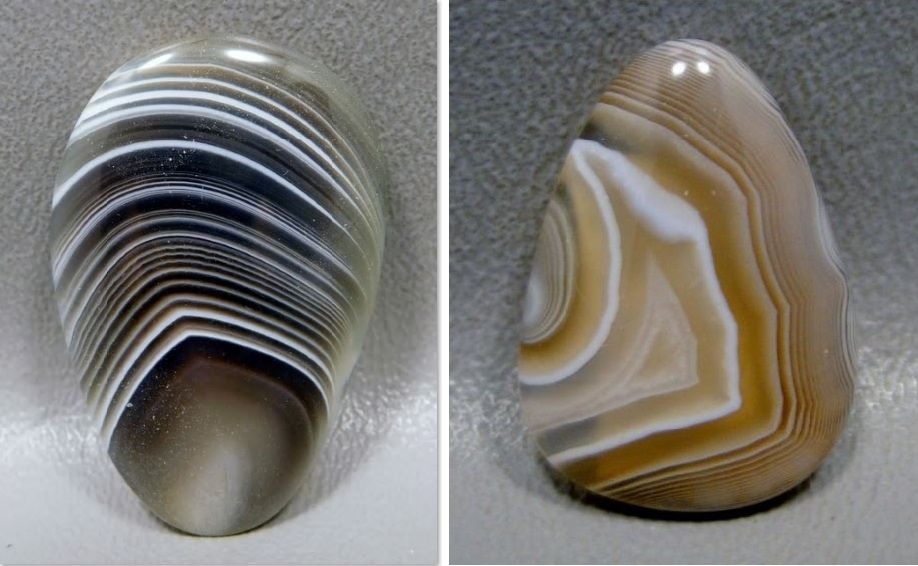 This Bostwana agate, cut by Bruce Barlow, is reminiscent of the worst a November has to offer, with rain, snow, and overcast skies. 43.5mm by 28mm. Right: This yellow and white Botswana agate, also cut by Bruce Barlow, will mirror the yellowed grasses as they begin to disappear in the snow. 27mm by 20mm. Photos courtesy Barlows Gems.
