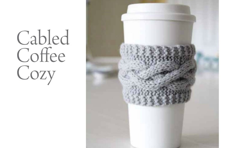 Cabled Coffee Cozy: Free Knitting Pattern