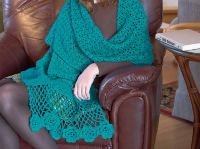The elegant Flowers for Eryn Wrap designed by Tracy St. John makes a perfect gift for family and friends. It can be found in our free crochet shawl patterns eBook.