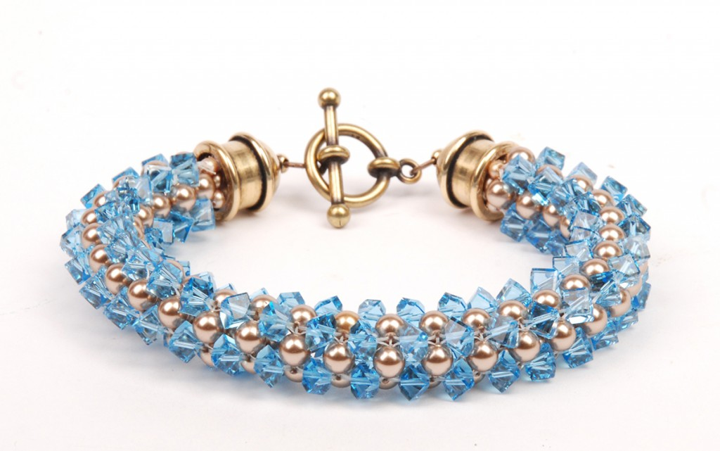 Cubic Right-Angle Weave bracelet, by Tammy Honaman. Swarovski crystal pearl and Swarovski crystal beads