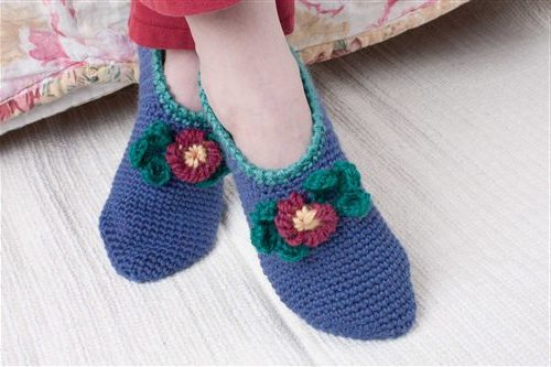 The Comfort Slippers by Sarah Read are worked in a single crochet in the round and can be found in our free Crochet slippers and socks Patterns eBook.