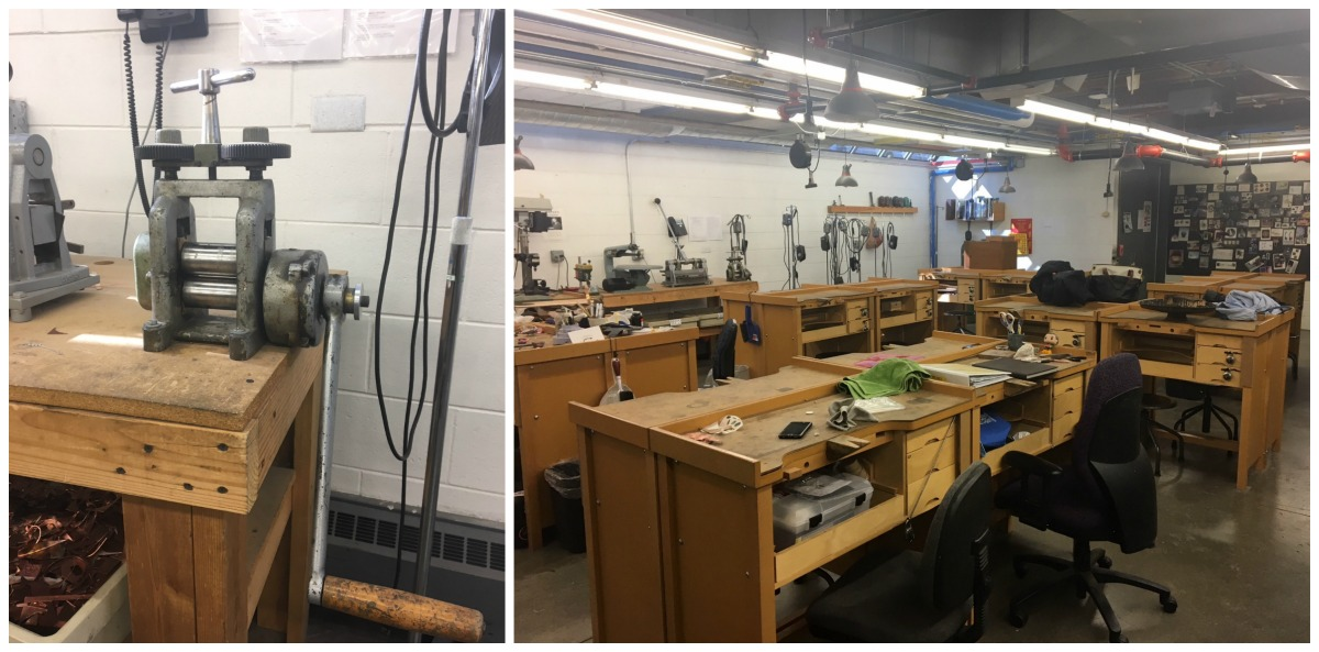 CSU's jewelry studio is filled with rolling mills, saws, flex shafts, firing stations, and many other tools to turn ideas into reality.