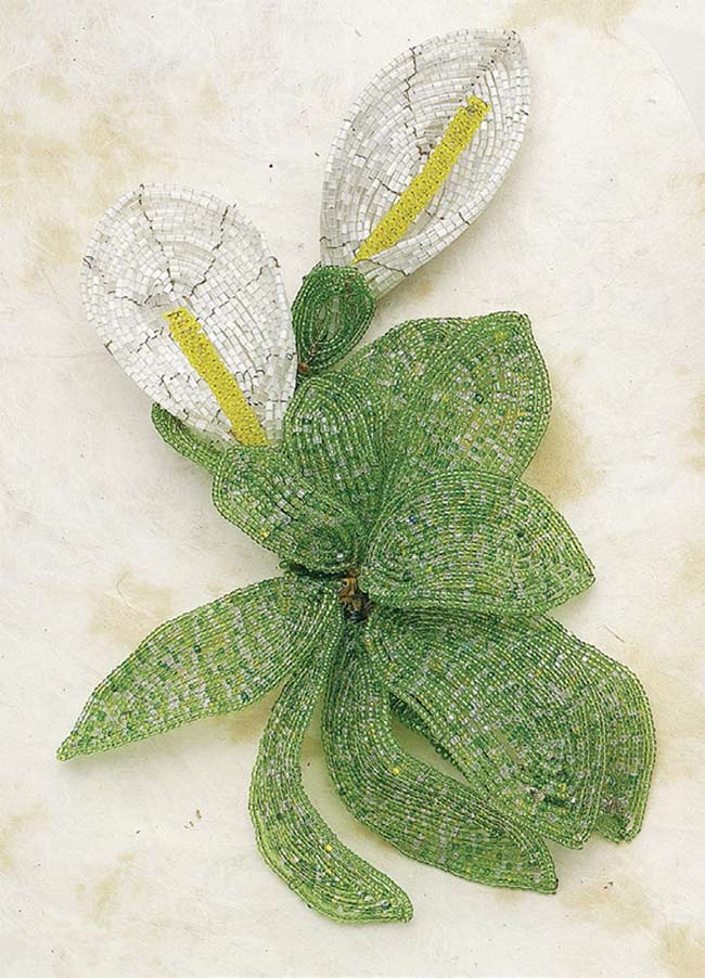 Bead Weaving: Start Your Spring with Beaded Leaves and Flowers with Huib Petersen. Beaded flower as seen in Beads in Bloom by Arlene Baker