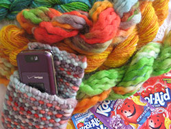 Handwoven cell phone purse with KoolAid-dyed skeins