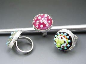 Cassie Donlen's Rockin Lampwork Bezel Rings