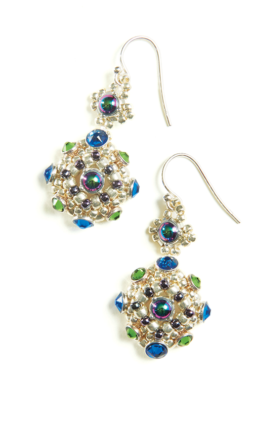 Beaded earrings by Melinda Barta. Name the design for a chance to win your own Crystaletts kit
