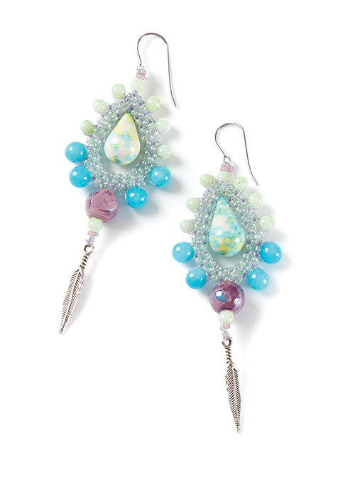 earrings made with the beading kit for Name That Design Challenge, Beadwork Magazine