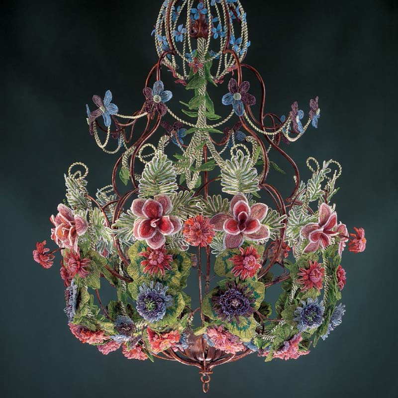 Bead Weaving: Start Your Spring with Beaded Leaves and Flowers with Huib Petersen. Beaded flower chandelier as seen in Beads in Bloom by Arlene Baker