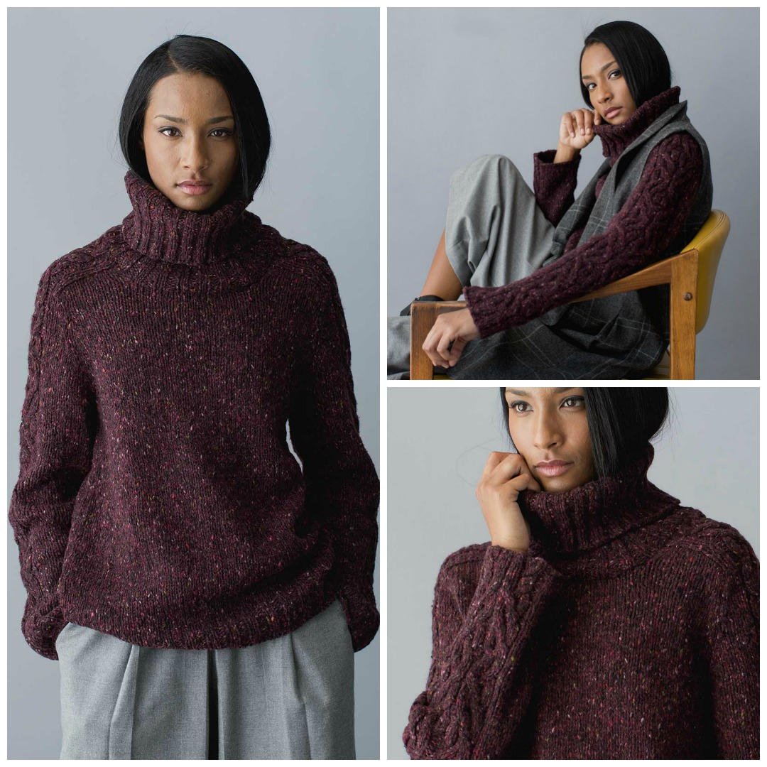 The Charles Pullover is a luxurious turtleneck winter knitting pattern with unusual cabling down the sleeves.