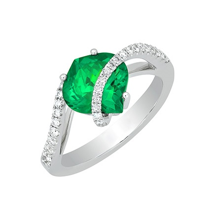 Emerald's bright green looks good in yellow or white gold, as seen in this diamond and Chatham-created emerald and white gold ring. Photo courtesy Chatham.